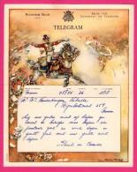 Télégramme Illustré - Royaume De Belgique - Régie Des Télégraphes Et Téléphones - Menen 1952 - CHARLES MICHEL - Cheval - Stamped Stationery