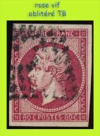 N° 17B NAPOLÉON SECOND EMPIRE 1853 - ROSE VIF - OBLITÉRÉ TB - - 1853-1860 Napoleon III