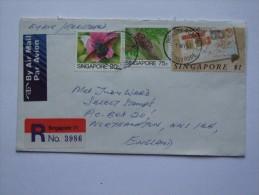 SINGAPORE 1990 REGISTERED AIR MAIL COVER TO NORTHAMPTON - Singapur (1959-...)