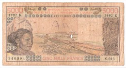 SENEGAL       5000 FRANCS      1992    P. 708Ko           (voir 2 Scans) - West-Afrikaanse Staten