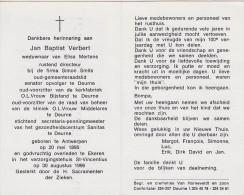 Doodsprentje Honderdjarige Jan Baptist Verbert. °Antwerpen, +Ekeren. Oud-gemeenteraadslid, Senator Opvolger Te Deurne. - Images Religieuses