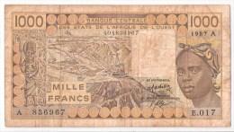 COTE D´IVOIRE      1000 FRANCS      1987    P. 107Ah           (voir 2 Scans) - West-Afrikaanse Staten