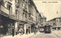 1917-Brescia Corso Zanardelli Animata Contro Tram, Cartolina Viaggiata - Brescia