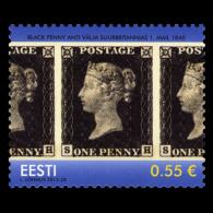 ESTONIA Estland 2015 Stamp – First Postage Stamp 175 Anniversary Black Penny MNH - Estonia