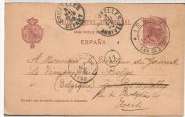 ENTERO POSTAL ALFONSO XIII MAT IRUN A BELGICA 1900 TAMPON DE UN FOTOGRAFO - 1889-1931 Royaume: Alphonse XIII