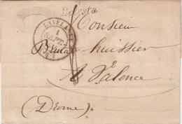 LETTRE 1844 ARIEGE CURSIVE 8/BELESTA T14 LAVELANET Pour VALENCE PORT DU TAXE 6  / 6102 - Marcophilie (Lettres)
