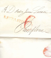 Prefilatelia Año 1827 Carta Marcas S.Sebastian Y Porteo Rojo 6 - ...-1850 Prefilatelia
