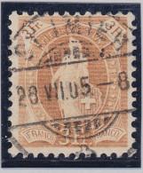 Heimat BE St.Imier 1905-07-28 Voll-O Stehende Zu#72E 3Fr. - 1882-1906 Armoiries, Helvetia Debout & UPU