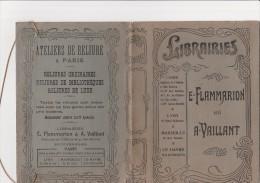 """COUVRE LIVRE """"LIBRAIRIE FLAMMARION ET A - VAILLANT- LYON- PUBLICITE  ATELIERS DE RELIURE FLAMMARION - Books, Magazines, Comics"""