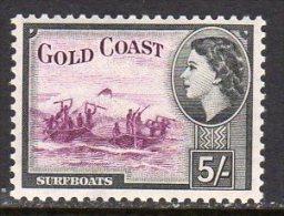 Gold Coast Ghana QEII 1952-4 Definitives 5/- Value, Lightly Hinged Mint - Gold Coast (...-1957)