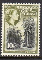 Gold Coast Ghana QEII 1952-4 Definitives 10/- Value, Lightly Hinged Mint - Gold Coast (...-1957)