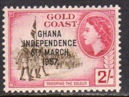 Gold Coast Ghana QEII 1957 Independence Overprints 2/- Value, MNH - Gold Coast (...-1957)