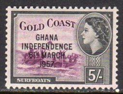 Gold Coast Ghana QEII 1957 Independence Overprints 5/- Value, MNH - Gold Coast (...-1957)