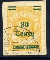 MEMEL (Lithuanian Occupation) 1923 (Dec.) 30 C. On 20 Mk. Used On Small Piece.  Michel 223 - Klaipeda