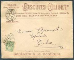 1901 France Lyon 'Biscuits Olibet' Caufrette A La Confiture Illustrated Advertising Cover - Culoz, Ain - 1877-1920: Periodo Semi Moderno