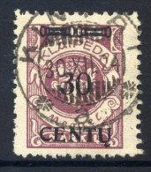 MEMEL (Lithuanian Occupation) 1923 ( 16-20. April) 30 C. On 500 Mk. Type VI, Used.  Michel 172 A IV (+ 50%) - Klaipeda