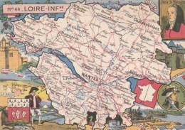 CPSM REPRESENTATION CARTE GEOGRAPHIQUE LOIRE ATLANTIQUE - Charette, Anne De Bretagne, Sel, Guérande, St Nazaire - Maps