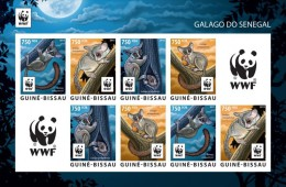 Guinea Bissau 2015, WWF Galago, 4val X2 In Sheetlet IMPERFORATED - W.W.F.