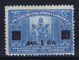 YUGOSLAVIA: Mi Nr 164 B  Aufdruck Dunkel Braun Lila  1922 MH/* Falz. - Ungebraucht