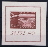 YUGOSLAVIA:  1951 Airmail Block Nr 5  MH/* Falz. - Blocks & Kleinbögen