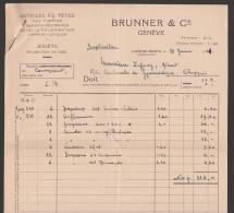 Facture De Brunner & Cie à Genève - Articles De Fêtes, Drapeaux, Feux D'artifices, Carnaval, Jouets, Décoration De Noël - Suisse