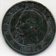 France - 10 Centimes 1853 W - Napoléon III Empereur - Chien (atelier : Lille) - D. 10 Centimes