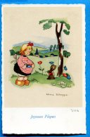 AVR508, Joyeuses Pâques, Petite Fille, Lapin, Hase, Rabbit, Héléna Scheggia, Trace De Colle Au Dos, Non Circulée - Pascua
