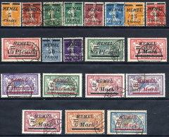 MEMEL 1922 (Jan/Apr) Overprints On France Set Used  Michel 52-71 - Klaipeda
