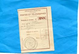 Marcophilie-DECLARATION DE VERSEMENT- P & T-N° 088-cad COMBREUX-cachet Perlé Nov 1904 - Marcophilie (Lettres)