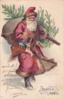 CARD BUON NATALE PERE NOEL SANTA CLAUS CON ALBERO E GIOCATTOLI IN RILIEVO -FP-VDB-2-0882-24682 - Santa Claus