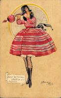 [DC4482] CARTOLINA ILLUSTRATA FIRMATA CHERUBINI - DANS LES REMOUS - ATTENTION AU CHAPEAU - Viaggiata 1921 - Old Postcard - Non Classés