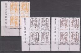Marianne De Ciappa-Kawena (2013-14) Lot De 3 Coins Datés N° 4763 (27.05.13) + 4764 (27.02.14) + 4765 (13.03.14) Neufs ** - 2010-....