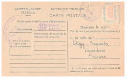 1946.SAONE-ET-LOIRE Mairie De ORMES. Carte De Ravitaillement Général. CP + Timbre Franchise.   / 13 - Marcophilie (Lettres)