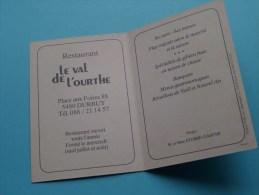 """Restaurant"""" Le VAL De L'OURTHE """" ( Stubbe-Gaspar ) Place Aux Foires 88 - DURBUY - Anno 19?? ( Zie Foto´s Voor Detail ) ! - Visiting Cards"""