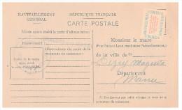 1946.MARNE Mairie De CHALON-SUR-MARNE. Carte De Ravitaillement Général. CP + Timbre Franchise.   / 18 - Marcofilia (sobres)