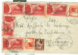 ESPRESSO £.5 X5+4+4+2 DEMOCRATICA,IN TARIFFA LETTERA ESPRESSO,1947, TIMBRO POSTE BISENTI,FRAZIONARIO 62-11,TERAMO,MODENA - 1946-60: Marcophilia