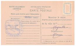 1946.AISNE Mairie De CHATEAU THIERRY. Carte De Ravitaillement Général. CP + Timbre Franchise.   / 30 - Postmark Collection (Covers)