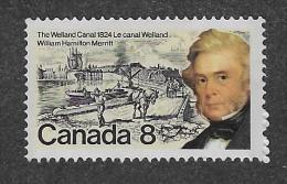 CANADA 1974, #655, WILLIAM HAMILTON MERRITT, Construction Du Canal Whellan,MNH, HAIR OVER BARN Variety - 1952-.... Règne D'Elizabeth II