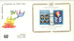 ONU - NAZIONI UNITE - UNITED NATIONS - NATIONS UNIES - 1980 - Minisheet - 35 Years Anniversary - New York - FDC - New York - Sede Centrale Delle NU