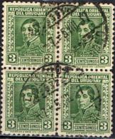 URUGUAY - 1934 - GENERALE RIVERA IN QUARTINA - USATI - Uruguay