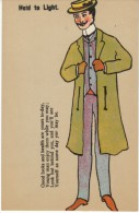 Hold To Light Young Man High Fashion, Hidden Image Man In Future As Drunk Clothed In Rags, C1900s Vintage Postcard - Hold To Light