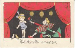 Polichinelle Amoureux, Puppets Romance, C1920s Vintage Postcard - Games & Toys