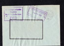 """Dienst/ZKD: Brief Mit ZKD-Kastenstpl. Aus GROßENHEIN """"VEB Vereinigte Tuchfabriken Ostsachsen"""" OSt.29.6.62 Per.bis30.3.65 - Dienstpost"""