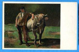 AVR516, Paysan Avec Sa Vache, Pro Juventute, Rudolf  Koller, Friedli Mit Der Kuh, 1858, Non Circulée - Landbouw