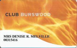 Burswood Casino Australia Slot Card - White Card - Casino Cards
