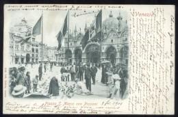 VENEZIA - 1901 - PIAZZA SAN MARCO CON PICCIONI. ANIMATISSIMA!!! - Venezia