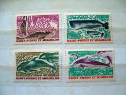 St. Pierre & Miquelon 1969 Marine Mammals Whale Dolphin # 389/92 Mint (no Gum) = 16 $ - St.Pierre Et Miquelon