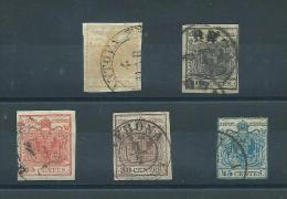 ITALIE LOMBARDIE VENETIE 1850 Lot De 05 Timbres Non Dentelés - Lombardo-Vénétie