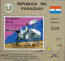Mars-Sonde VIKING Paraguay Block 258 ** 20€ Raumschiff Flugbahn Sonne Erde Lande-Fähre Bloc Hb Ms Space Sheet Bf America - Paraguay