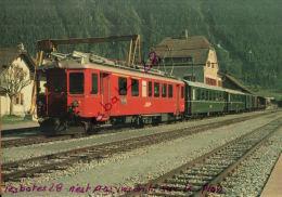 CPSM  Automotrice  ABe 4/4 502 (juin 1982)  Gare De Zernez Train Régional Vers Scuol-Tarasp  C F Rhétiques NOV  2015 031 - Bahnhöfe Mit Zügen